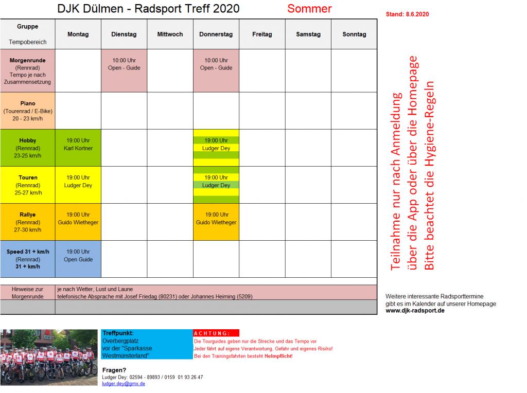 Trainingsplan 2020 - Sommer