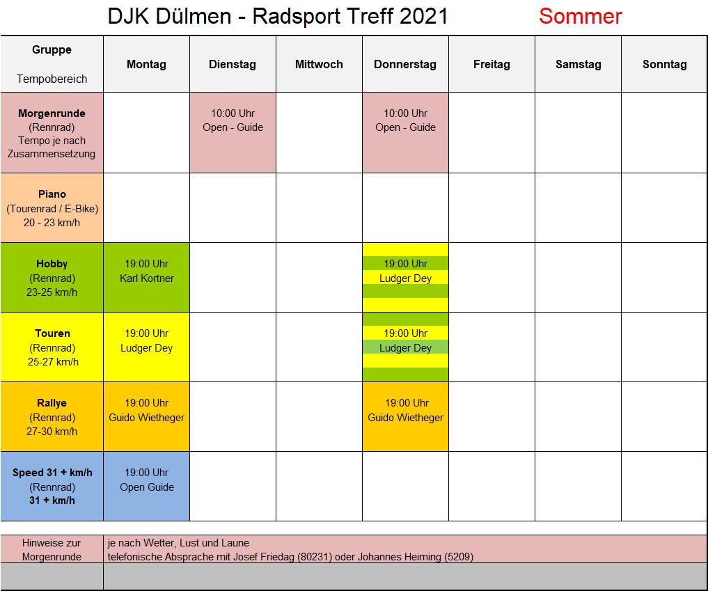 Trainingsplan 2021