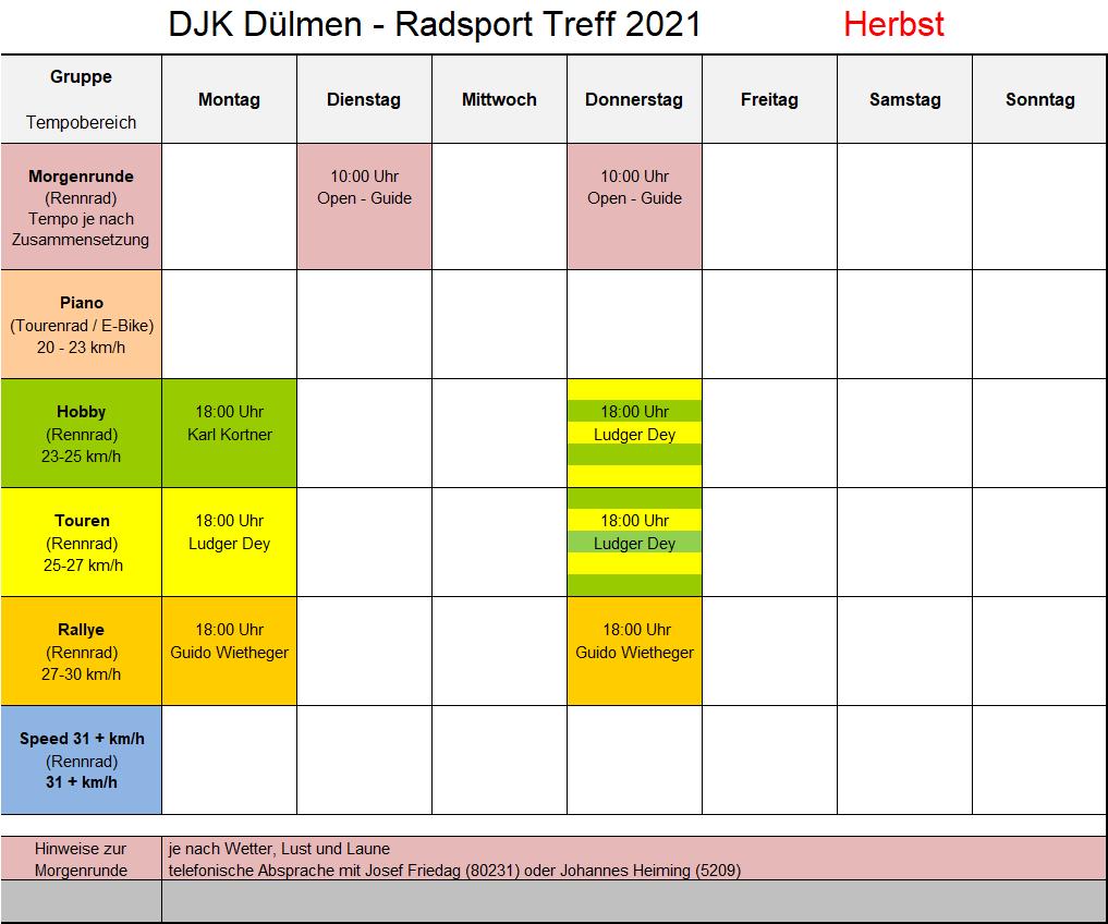 Trainingsplan Herbst 2021